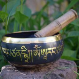 Bol népalais 5 métaux 14 cm symbole Om